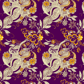 victorian doodle deep plum and gold