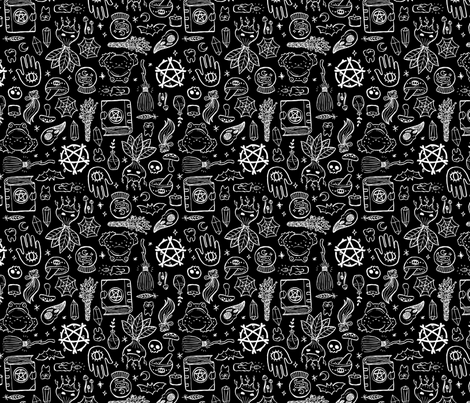 Witchy Objects - Black fabric by lunasol on Spoonflower - custom fabric