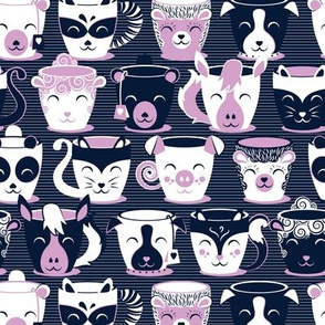 Cuddly Tea Time // small scale // navy background white & light orchid pink animal mugs