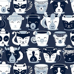 Cuddly Tea Time // small scale // navy background white & pastel blue grey animal mugs