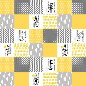 3 Inch - You are my sunshine - Wholecloth Cheater Quilt - Rotated