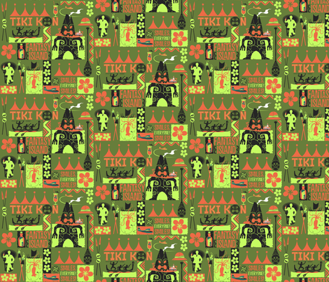 TIKI KON Fantasy Island - green fabric by vantiki on Spoonflower - custom fabric