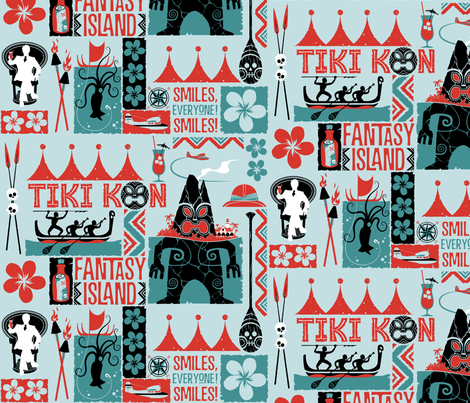 TIKI KON  Fantasy Island  - Blue fabric by vantiki on Spoonflower - custom fabric