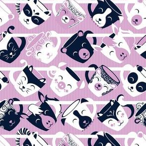 Precious tea mugs shelf // small scale // white navy & light orchid pink animal mugs