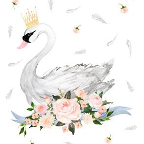 "3 Yards /  Floral Swan / 56""x108"""