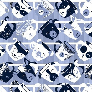 Precious tea mugs shelf // small scale // navy white & pale blue animal mugs