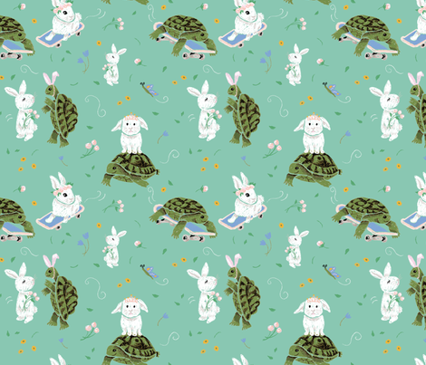 Turtle and the Rabbit fabric by pommynewyork on Spoonflower - custom fabric