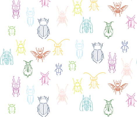 multi-color beetles on white fabric by eleventy-five on Spoonflower - custom fabric