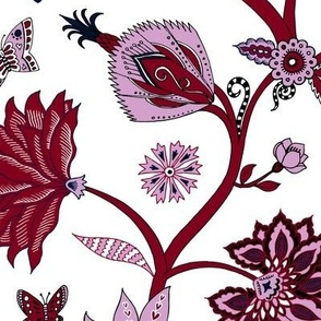 Fantasy Indian floral - red on white