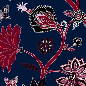 Fantasy Indian floral - red on navy