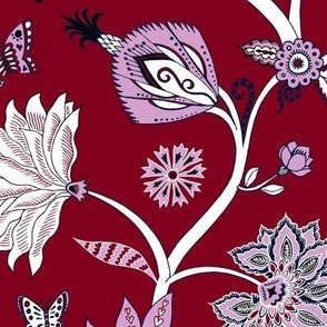 Fantasy Indian Floral - white on red