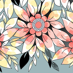 Large Flower Border in Peachy Pink, Blue, and Yellow