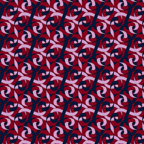 ribbon twist orchid and navy on red