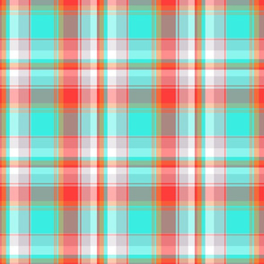 Turquoise and Red Plaid