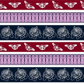 Ironwork Butterfly Roses Stripe
