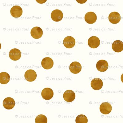 "1.5"" polka dots - bronze on cream"