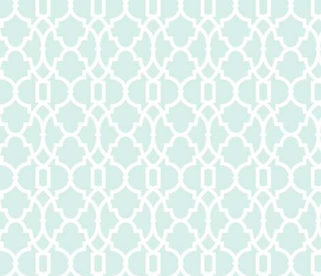Tiffany Trellis Bold in Lt Seafoam and White small fabric by aygeartist on Spoonflower - custom fabric