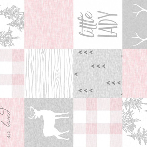 Little Lady, So Loved - pink and grey - ROTATED - baby girl quilt