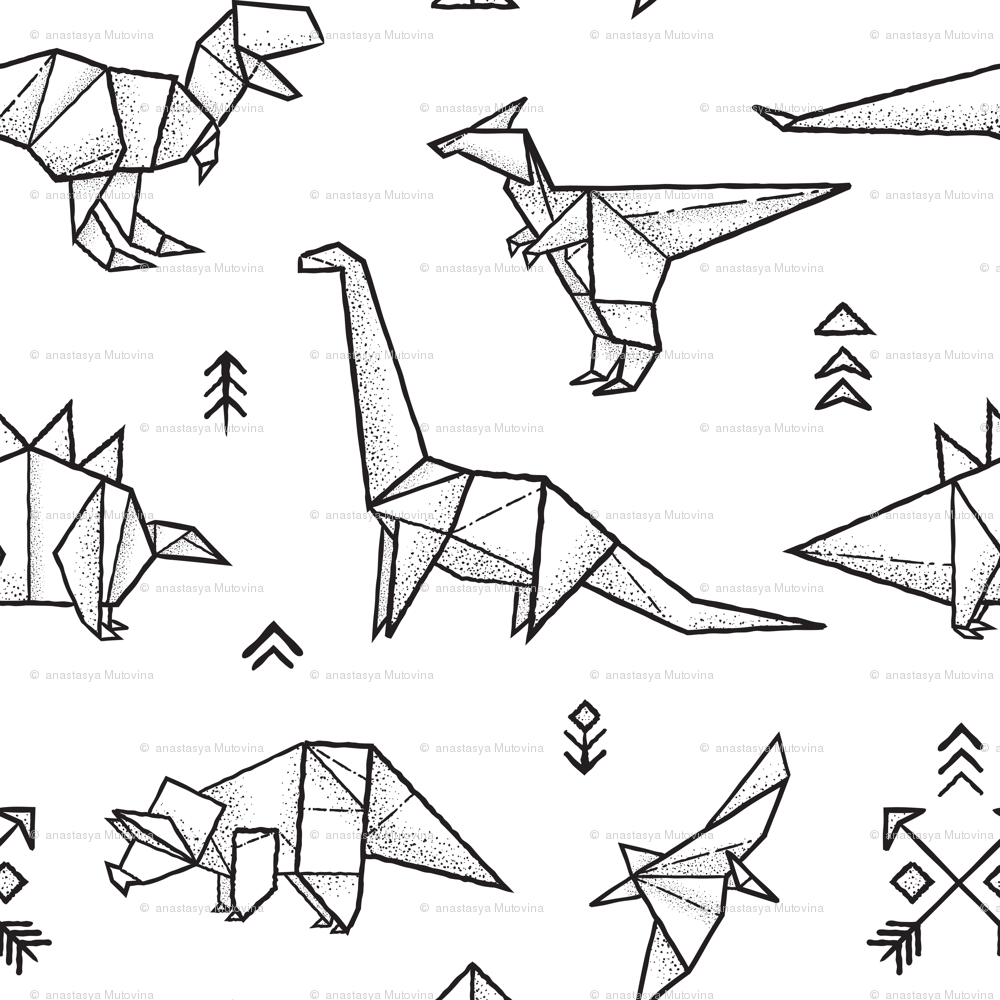 Peachy Origami Dinosaurs Coloring Print Wallpaper Penguinhouse Spoonflower Wiring Digital Resources Remcakbiperorg