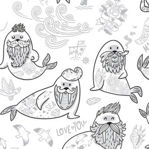 Bearded walruses coloring print