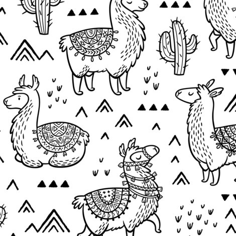 Happy Llamas coloring print fabric by penguinhouse on Spoonflower - custom fabric