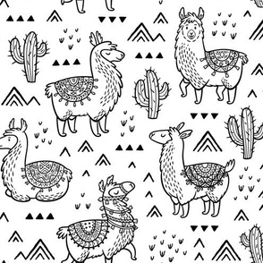 Happy Llamas coloring print