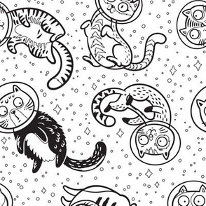 Crazy galaxy cats coloring print