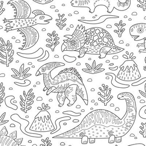 Dino friends coloring print