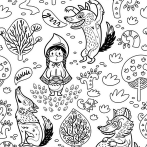 Red Riding Hood coloring print
