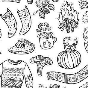 Cozy autumn coloring print