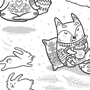 Hygge Foxes coloring print