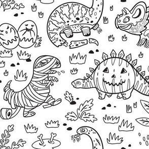 Dinos in Halloween costumes coloring print
