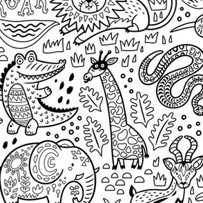 Safari coloring print