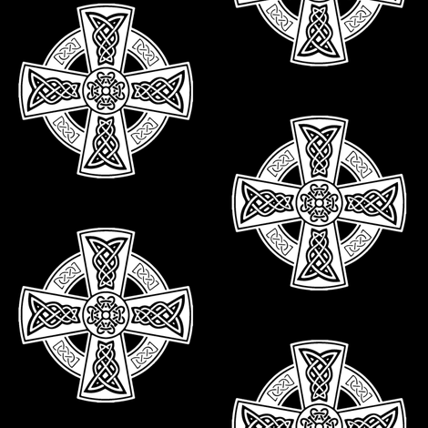 Celtic Cross // Black // Large fabric by thinlinetextiles on Spoonflower - custom fabric