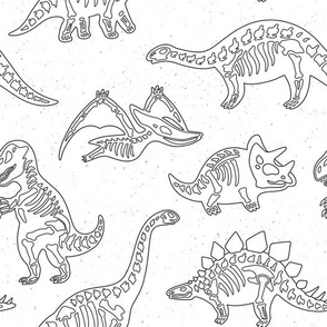 Skeletons of dinosaurs coloring print