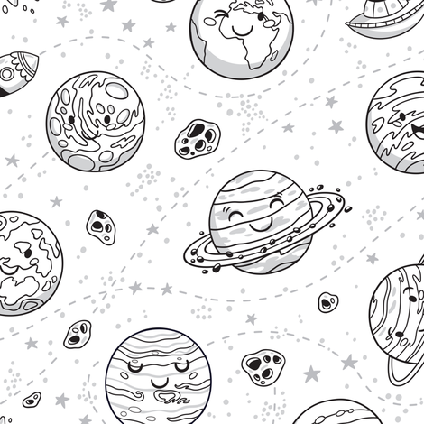 Solar System coloring print fabric by penguinhouse on Spoonflower - custom fabric