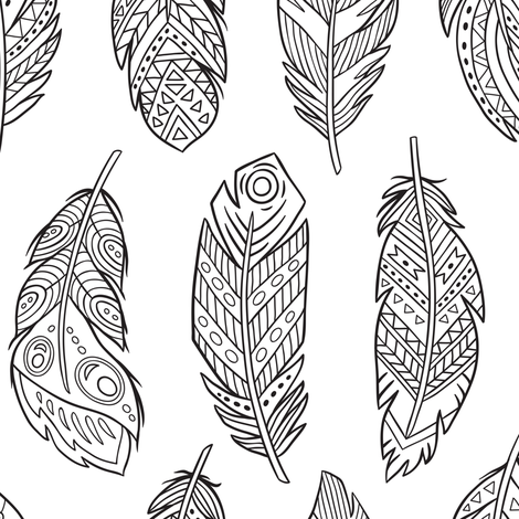 Ethnic feathers coloring print fabric by penguinhouse on Spoonflower - custom fabric