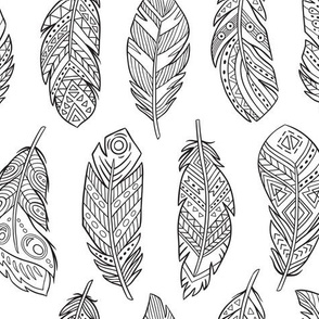 Ethnic feathers coloring print