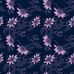 Passionflowers in Navy, Small