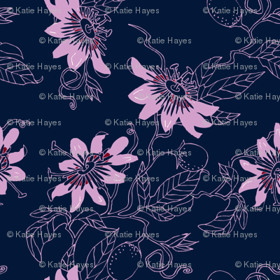 Passionflowers in Navy, Large