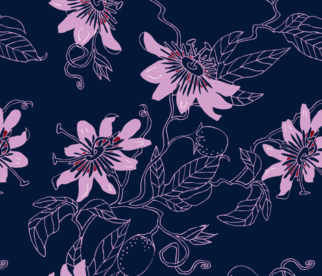 Passionflowers in Navy, Large fabric by katie_hayes on Spoonflower - custom fabric