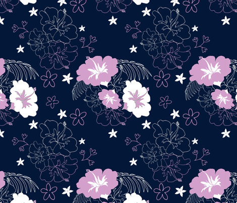 Navy and Orchid Hibiscus Limited Palette  fabric by dreamoutloudart on Spoonflower - custom fabric