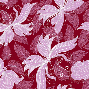 floral butterflies in lilac and scarlet