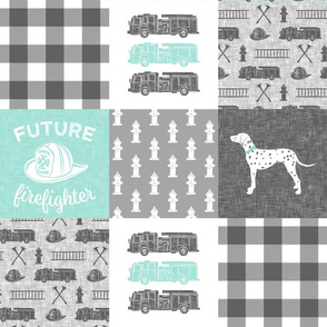 future firefighter wholecloth - patchwork aqua