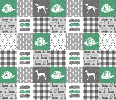 firefighter wholecloth - patchwork green fabric by littlearrowdesign on Spoonflower - custom fabric