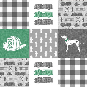 firefighter wholecloth - patchwork green