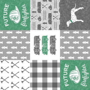 future firefighter patchwork fabric - plaid -  green (90)