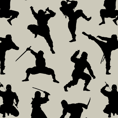 Ninjas on Light Taupe // Small fabric by thinlinetextiles on Spoonflower - custom fabric