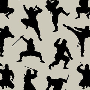 Ninjas on Light Taupe // Small