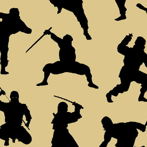 Ninjas on Tan // Large fabric by thinlinetextiles on Spoonflower - custom fabric